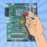 Pop Art Male Hand of Computer Engineer Repairing CPU on Motherboard. Maintenance PC Hardware Upgrade. Vector illustration Stock Photography