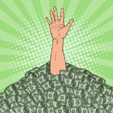 Pop Art Male Hand Drowns in Pile of Money. Financial Success Concept. Vector illustration Royalty Free Stock Image