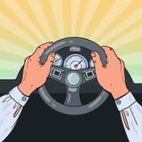 Pop Art Male Hands Steering Car-Wiel Het veilige Drijven Royalty-vrije Stock Afbeeldingen