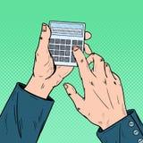Pop Art Male Hands Using Calculator. Calculating Mathematics Stock Photos
