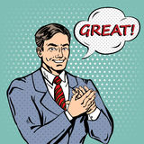 Pop Art Man Applauds with Expression Great. Vector illustration Stock Image