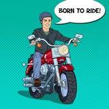 Pop Art Man Biker Riding een Bijl vector illustratie