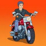 Pop Art Man Biker Riding een Bijl stock illustratie