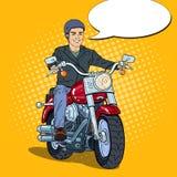 Pop Art Man Biker Riding een Bijl royalty-vrije illustratie