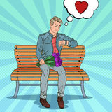 Pop Art Man with Bouquet of Flowers Waiting for Girlfriend. Vector illustration Stock Images