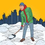 Pop Art Man Clearing Snow with Shovel. Winter Snowfall in the City. Vector illustration stock illustration
