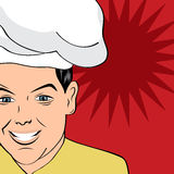 Pop art man in cooker uniform Royalty Free Stock Images
