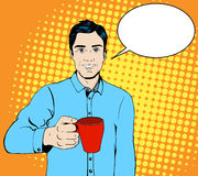 Pop art man with a cup of coffee Royalty Free Stock Photography