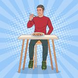 Pop Art Man Eating Soup with Disgusting Face. Tasteless Food. Vector illustration Royalty Free Stock Image
