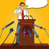 Pop Art Man Giving Press Conference. Mass Media Interview. Vector illustration Royalty Free Stock Image