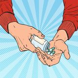 Pop Art Man Holding Bottle med medicinska droger Manhänder med preventivpillerar Farmaceutiskt tillägg stock illustrationer