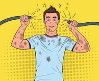 Pop Art Man Holding Broken Electrical Cable. After Domestic Accident. Funny Dirty Electrician. Vector illustration stock illustration