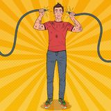 Pop Art Man Holding Broken Electrical Cable royalty free illustration