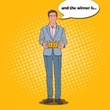 Pop Art Man Holding Golden Crown. Firts Place Winner, Coronation Ceremony. Vector illustration Stock Photo