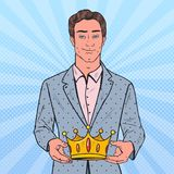 Pop Art Man Holding Golden Crown. Firts Place Winner, Coronation Ceremony. Vector illustration Royalty Free Stock Photo