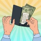 Pop Art Man Paying de Rekening bij het Restaurant Gastcontrole met Contant geld royalty-vrije illustratie