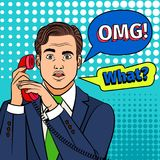 Pop art surprised man with phone. Pop art man with phone. Retro clipart surprised man with stunning face and omg in comic text bubble Royalty Free Stock Image