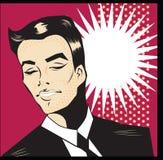 Pop Art Man Smile Illustration Vintage Pop Art Man. Pop Art Man Smile Illustration  Vintage Pop Art Man poster or invitation Gentleman Stock Photos