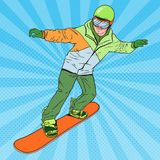 Pop Art Man in Sportswear with Snowboard. Snowboarder Doing. Trick. Vector illustration Stock Photography