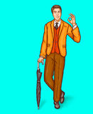 Pop art man stands leaning on umbrella cane and shows OK sign vector illustration