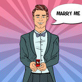 Pop Art Man in Tail-Coat with Wedding Ring. Marriage Proposal Royalty Free Stock Photography