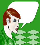 Pop Art - Man Talk. Pop art designed male speaking in gold red and brown tones with speech bubble area for copy Stock Photos