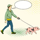 Pop art man walking a mini pig. Vector of an imitation comic style, retro. text bubble. Pop art man walking a mini pig. Vector illustration of an imitation comic Stock Photos