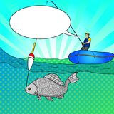 Pop art man who fishing in open sea. Fishing cartoon. Fisherman in boat pulling fish. Vector Image Comic book style. Pop art man who is fishing in the open sea Stock Photography