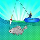 Pop art man who fishing in open sea. Fishing cartoon. Fisherman in boat pulling fish. Vector Image Comic book style. Pop art man who is fishing in the open sea Stock Photo