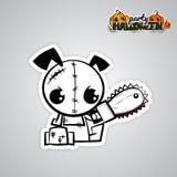 Pop art mau da boneca do vudu do cão de Dia das Bruxas cômico Imagem de Stock Royalty Free