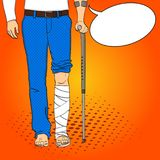 Pop art men legs in plaster, cane and support. Rehabilitation means. Vector imitation comic style. Text bubble. Pop art men legs in plaster, cane and support Royalty Free Stock Image