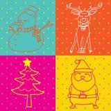Pop Art Merry Christmas elements outline Stock Photos