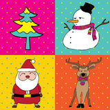 Pop Art Merry Christmas four elements Stock Photography