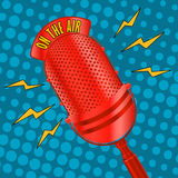 Pop art microphone Royalty Free Stock Photography