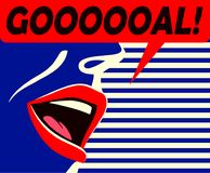 Minimal style mouth of soccer supporter shouting goal celebrating his team vector illustration Royalty Free Stock Photo