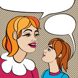 Pop art mom and kid Royalty Free Stock Photography