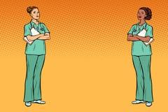 Pop art Multi ethnic group. Two nurses. Medicine and health back stock illustration