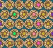 Pop Art Multicolor Flowers Over Deep Blue Royalty Free Stock Photos