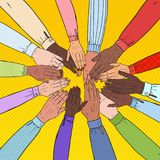 Pop Art Multicultural Hands. Multiethnic People Teamwork. Togetherness, Partnership, Friendship Concept. Vector illustration Royalty Free Stock Photos