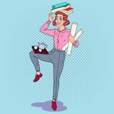 Pop Art Multitasking Business Woman at Work. Overload Office Secretary. With Pile of Papers. Vector illustration Stock Photography