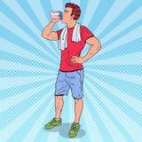 Pop Art Muscular Man Drinking Protein Shake. Nutrition Supplements. Vector illustration Stock Photos
