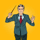Pop Art Music Conductor Man with a Baton Stock Images