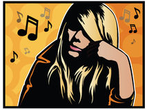 Pop Art Music Girl Stock Image
