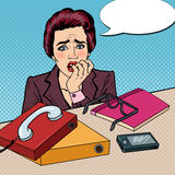 Pop Art Nervous Business Woman Biting Her Fingers at Multi Tasking Office Work. Vector illustration Royalty Free Stock Photos