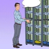 Pop Art Network Engineer Working with Hardware Data Center. Technicianin Build Server Database Stock Photos