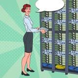 Pop Art Network Female Engineer Working with Hardware Data Center. Technicianin Build Server Database Stock Photography