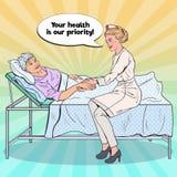 Pop Art Nurse Holding Hand av äldre kvinna Hälsovård medicin, sjukhus royaltyfri illustrationer