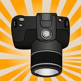 Pop art objects are electronic equipment for photography. Professional camera for shooting. Comic book style imitation. Vector Stock Photography