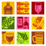 Pop art objects - wine & alcohol Royalty Free Stock Photography