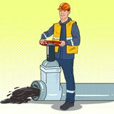 Pop Art Oilman Works with Oil Pipe. Petrochemical Industry royalty free illustration